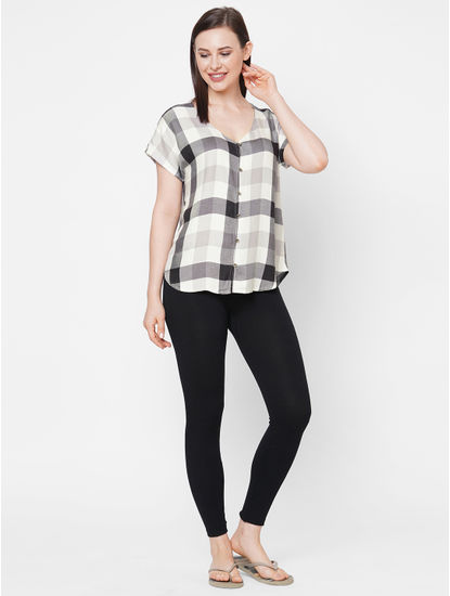 Comfy Black Checks Top