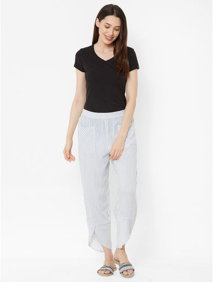 Mystere Paris - Stylish, Classic Striped Lounge Pants For Women (White, Grey, Super Soft Rayon)
