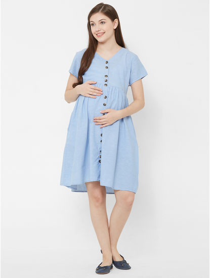 Classic Button Down Maternity Dress