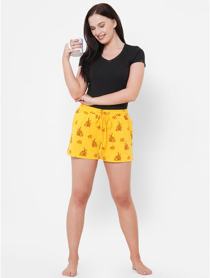 Funky Yellow Print Cotton Shorts