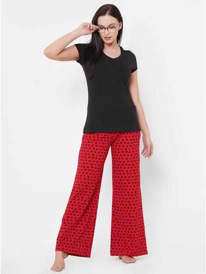 Trendy Maroon, Black Polka Dot Pyjamas
