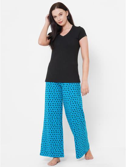 Stylish Teal, Black Polka Dot Pyjamas