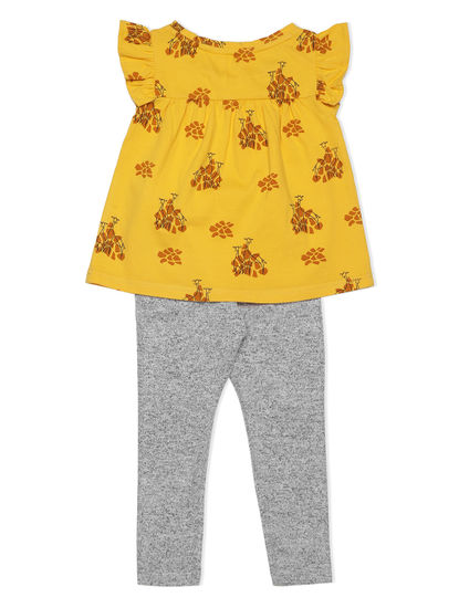 Girls Cute Yellow Leggings Set