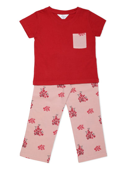 Girls Cute Peach Giraffe Pyjama Set