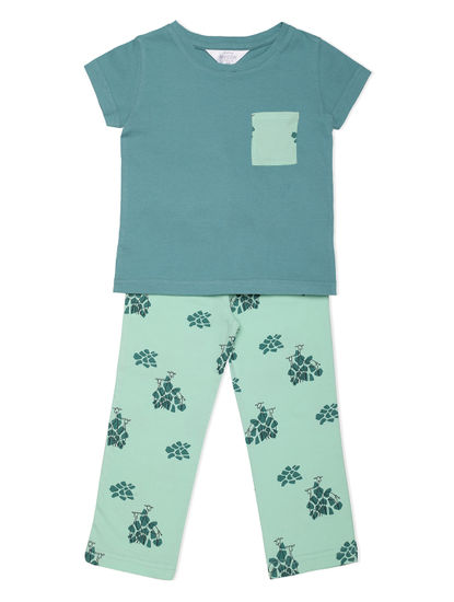 Girls Comfy Green Giraffe Pyjama Set