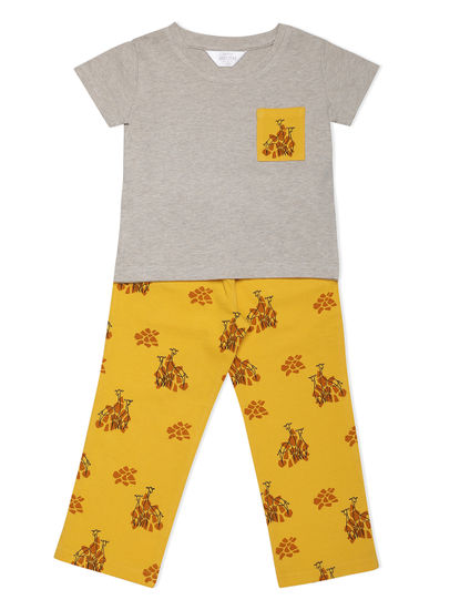 Girls Chic Yellow Giraffe Pyjama Set