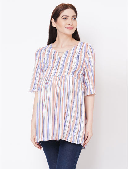 Stylish Striped Maternity Top