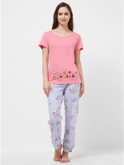 Tribal Checked T-shirt Pyjama Set