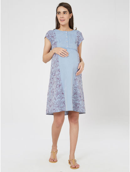 Maternity Floral Chambray Dress