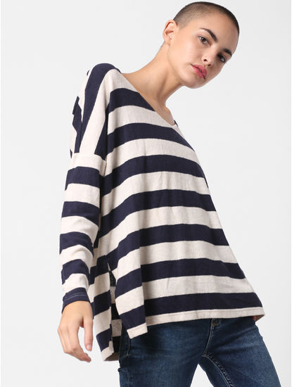 Light Brown Striped Loose Pullover