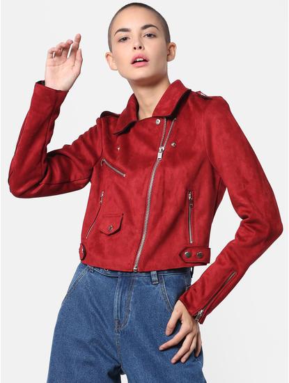 Red Cropped Biker Jacket