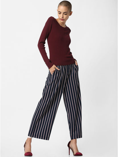 Navy Blue Mid Rise Striped Pants