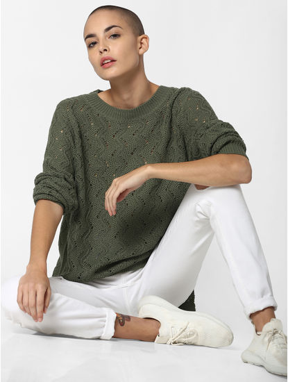 Green Textured Pullover