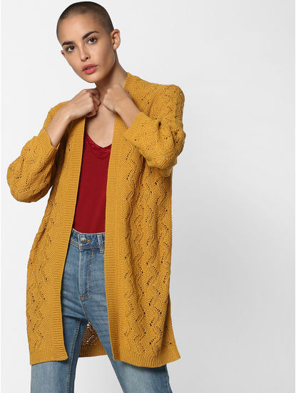 Mustard Textured Cardigan