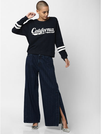 Navy Blue California Print Sweatshirt