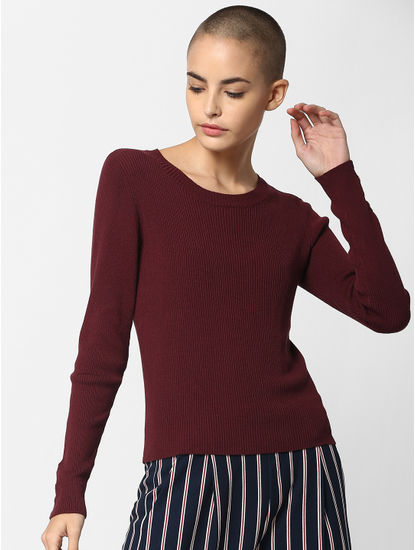 Burgundy Ribbed Pullover