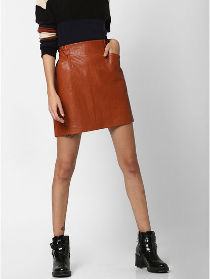 Brown Mid Rise Faux Leather Skirt