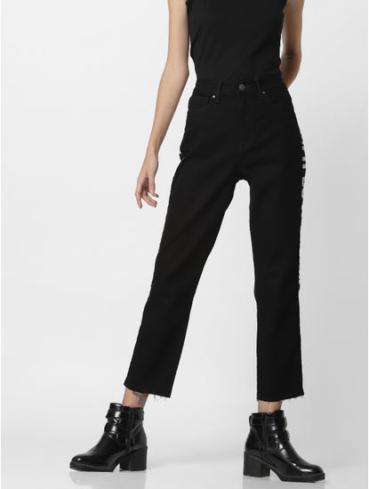Black Mid Rise Tape Detail Straight Fit Jeans