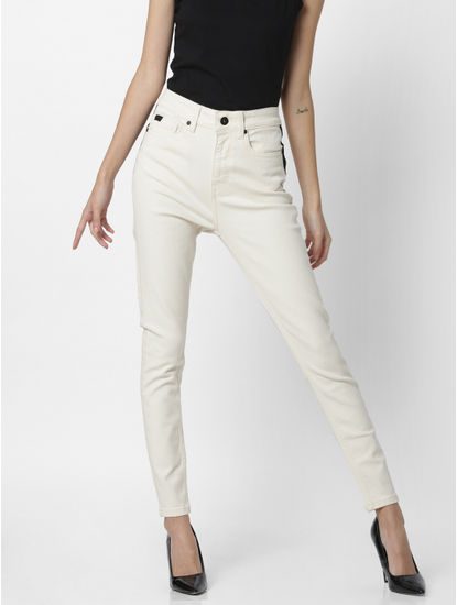 Off-White High Rise Skinny Fit Jeans