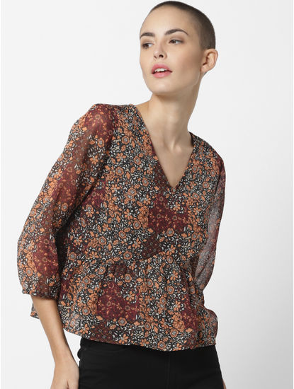 Brown Floral Print Top