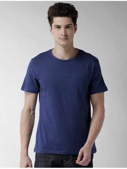 Blue Solid T-Shirt