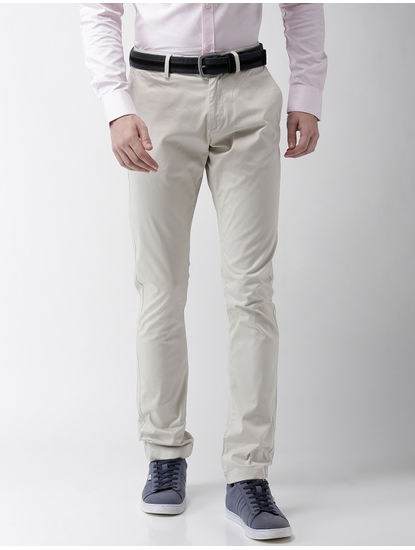 Cream Straight Chinos