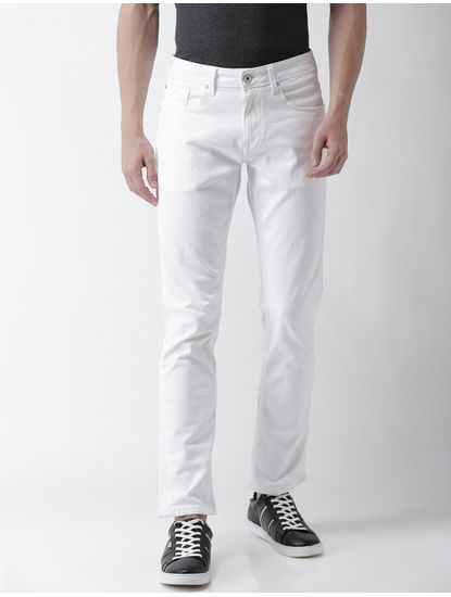 White Straight Slim Fit Jeans