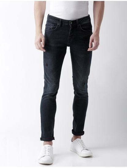 Blue Solid Straight Skinny Fit Jeans