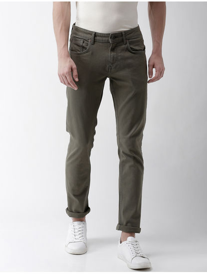 Olive Solid Slim Fit Jeans