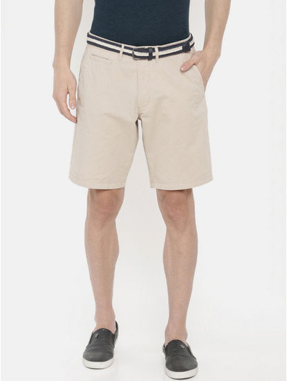 Beige Solid Shorts