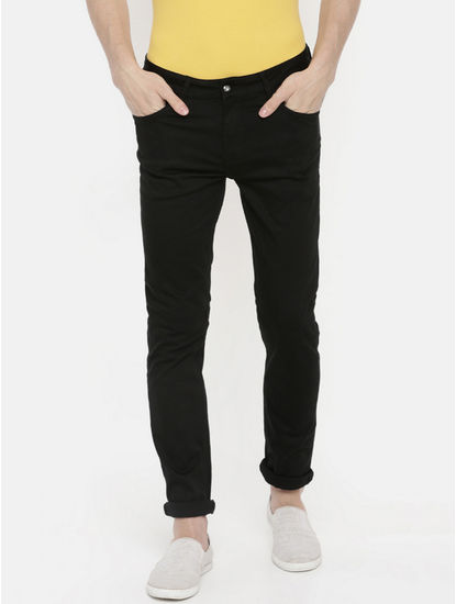 Black Solid Slim Fit Jeans