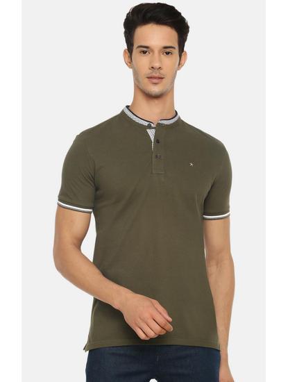 Khaki Solid Polo T-Shirt