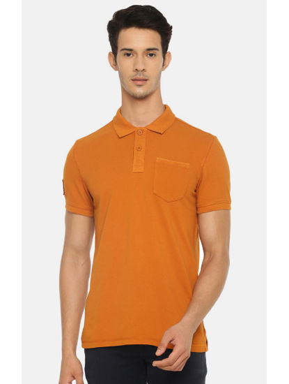 Mustard Solid Polo T-Shirt