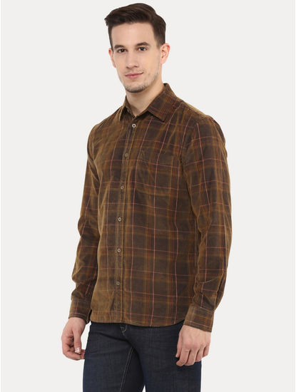 Facaroind Brown Checked Casual Shirt