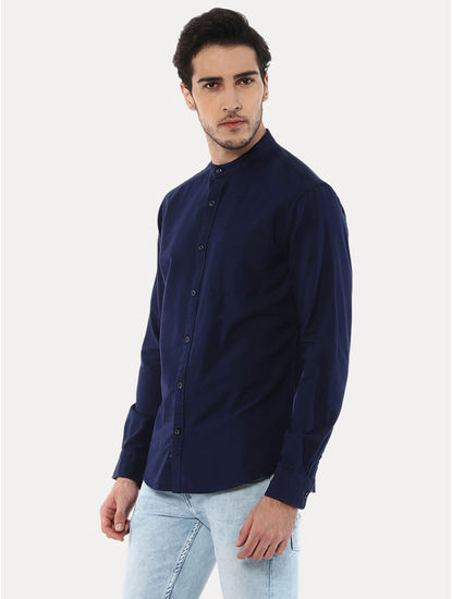 Gaoxford Navy Solid Casual Shirt
