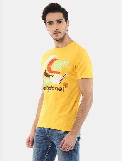 Jequickind Yellow Printed T-Shirt
