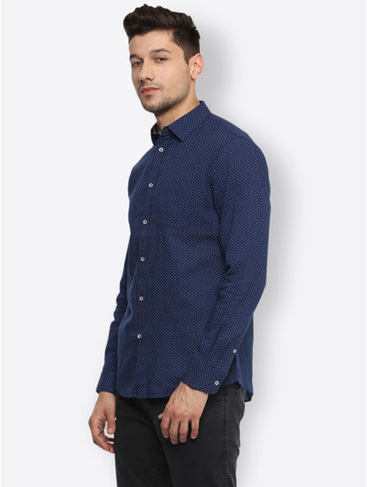 Navy Printed Casual Shirt