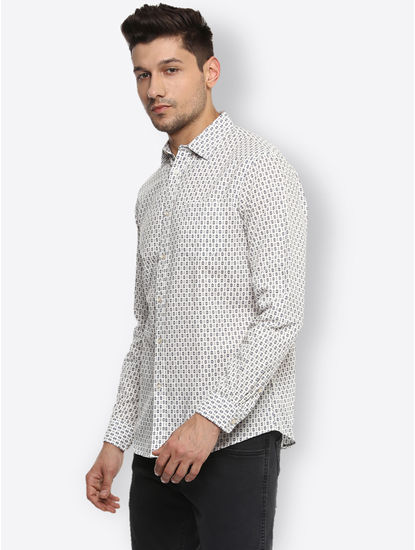 Cream Printed Casual Shirt