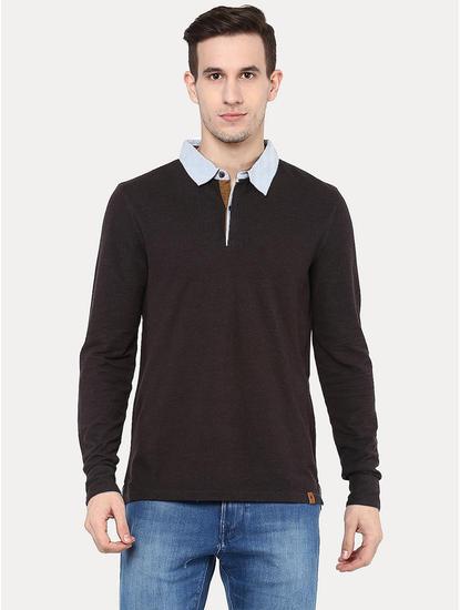Dark Grey Solid Polo T-Shirt
