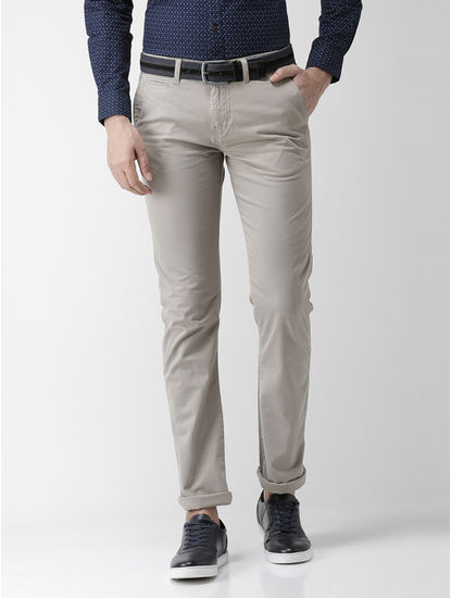 Grey Straight Chinos
