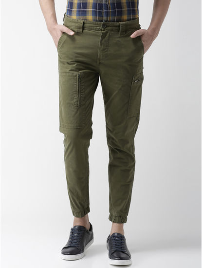 Green Solid Casual Joggers