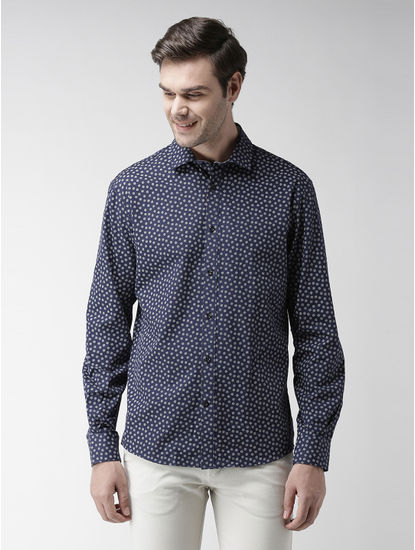 Marine Blue Printed Casual Shirt