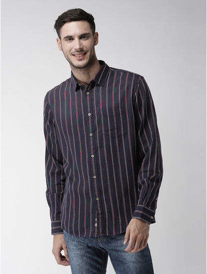 Navy Blue Striped Casual Shirt