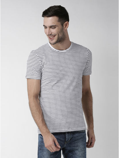 Optical White Striped T-Shirt