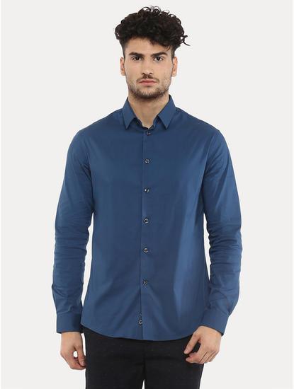 Dark Blue Solid Casual Shirt