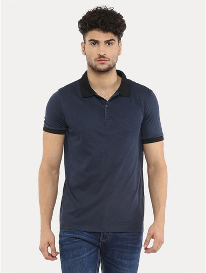 Navy Melange Polo T-Shirt
