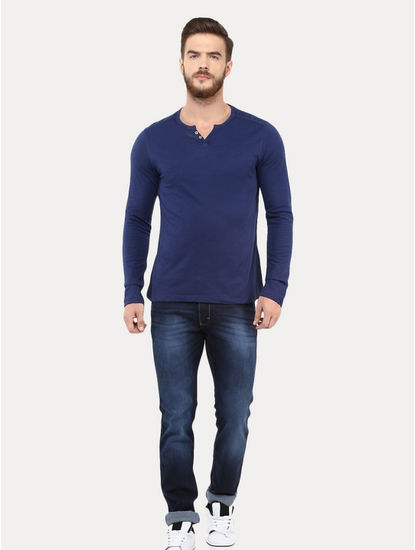 Navy Blue Melange T-Shirt