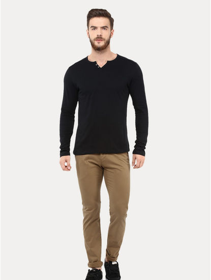 Camel Slim Fit Formal Trousers
