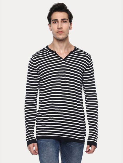 Greasy Black and White Striped T-Shirt
