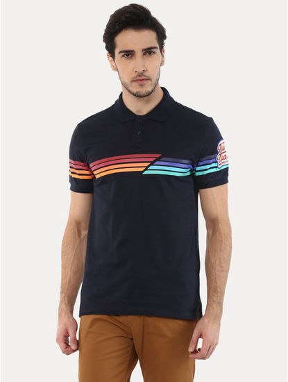 Jetwin Navy Striped Polo T-Shirt